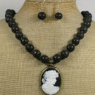 LADY CAMEO & BLACK VOLCANO LAVA NECKLACE/EARRINGS SET