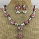 RED WHITE TURQUOISE NECKLACE/EARRINGS SET