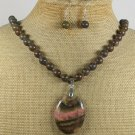 NATURAL RHODONITE BROWN JASPER NECKLACE/EARRINGS SET