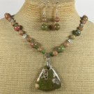 RHYOLITE AUTUMN JASPER UNAKITE NECKLACE/EARRINGS SET