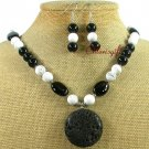 BLACK VOLCANO LAVA AGATE TURQUOIS NECKLACE/EARRINGS SET
