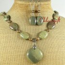 RHYOLITE & FRESH WATER PEARLS NECKLACE/EARRINGS SET
