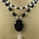 BLACK AGATE WHITE JADE FW PEARLS 2ROW NECKLACE