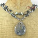 OCEAN JASPER BLUE JADE LABORADITE 2ROW NECKLACE