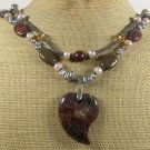 OCEAN JASPER IMPERIAL JASPER CRYSTAL PEARLS NECKLACE