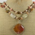 TIGER QUARTZ & FRESH WATER PEARLS 2ROW NECKLACE