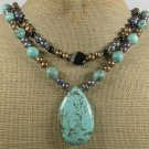 TURQUOISE & BLACK AGATE & PEARLS 2ROW NECKLACE