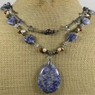 SODALITE SMOKY CRYSTAL FRESH WATER PEARLS 2ROW NECKLACE