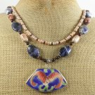 POTTERY SHARD SODALITE 2ROW NECKLACE