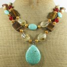 TURQUOISE TIGER EYE QUARTZ CARNELIAN 2ROW NECKLACE