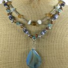BLUE AGATE JADE CAT EYE CRYSTAL PEARLS 2ROW NECKLACE