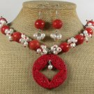 RED CINNABAR & CORAL & PEARLS NECKLACE/EARRINGS SET