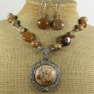 NATURAL PICTURE JASPER BROWN AGATE NECKLACE/EARRING SET