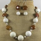 WHITE TURQUOISE BROWN AGATE NECKLACE/EARRINGS SET