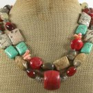 RED CORAL & TURQUOISE & JASPER GOLDSTONE 2ROW NECKLACE