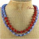 RED BLUE AGATE 2ROW NECKLACE