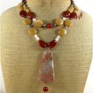 CRAZY AGATE RED CARNELIAN YELLOW JADE 2ROW NECKLACE