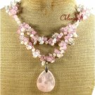 ROSE QUARTZ CRYSTAL FRESH WATER PEARLS 2ROW NECKLACE