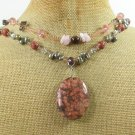 BROWN POPPY JASPER CRYSTAL FW PEARL 2ROW NECKLACE