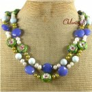 FLOWER CLOISONNE BLUE JADE CORAL PEARLS 2ROW NECKLACE