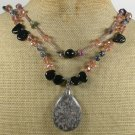 BROWN POPPY JASPER AGATE CRYSTAL 2ROW NECKLACE