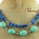 TURQUOISE & BLUE CORAL 2ROW NECKLACE