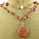 ORANGE STRIPE JASPER HONEY JADE PEARLS 2ROW NECKLACE