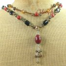 RED JASPER BLACK AGATE CRYSTAL PEARLS 2ROW NECKLACE