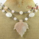 NATURAL PINK AVENTURINE ROSE QUARTZ 2ROW NECKLACE