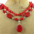 NATURAL RED CORAL 2ROW NECKLACE