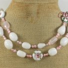 WHITE JADE ROSE QUARTZ FLOWER CLOISONNE 2ROW NECKLACE