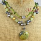YELLOW TURQUOISE QUARTZ FW PEARL 2ROW NECKLACE