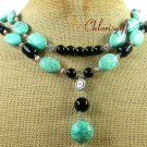 TURQUOISE & BLACK AGATE & FW PEARL 2ROW NECKLACE