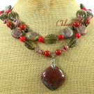 FANCY JASPER RED CORAL SMOKY CRYSTAL 2ROW NECKLACE