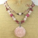 ROSE QUARTZ FLOWER & JADE & FW PEARL 2ROW NECKLACE