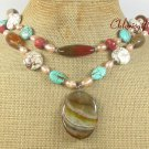 BRAZILIAN AGATE TURQUOISE CORAL FW PEARL 2ROW NECKLACE