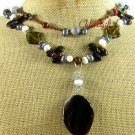 BLACK AGATE CRYSTAL CAT EYE FW PEARL 2ROW NECKLACE