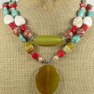 YELLOW AGATE TURQUOISE RED CORAL MOP 2ROW NECKLACE