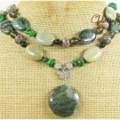 GREEN RUTILATED JASPER KAMBABA JASPER 2ROW NECKLACE