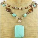 TURQUOISE TIGER EYE RUTILATED QUARTZ 2ROW NECKLACE