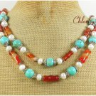TURQUOISE & RED AGATE & FW PEARL 2ROW NECKLACE
