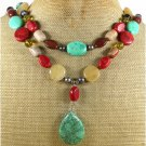 TURQUOISE RED CORAL YELLOW JADE AGATE 2ROW NECKLACE