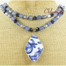 MING DYNASTY POTTERY SHARD BLUE AGATE 2ROW NECKLACE