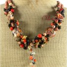 BROWN TURQUOISE TIGER EYE AGATE CORAL NECKLACE