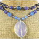 OPALITE AGATE JADE SODALITE FW PEARL 2ROW NECKLACE