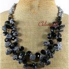 SNOWFLAKE OBSIDIAN BLACK AGATE CRYSTAL 2ROW NECKLACE