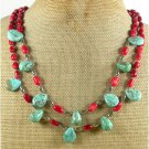 TURQUOISE & RED CORAL 2ROW NECKLACE