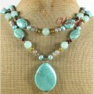 TURQUOISE BLUE GREY JADE GARNET PEARLS 2ROW NECKLACE