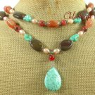 TURQUOISE & RED AGATE & IMPERIAL JASPER 2ROW NECKLACE