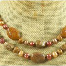 BROWN AGATE PICTURE JASPER FW PEARL 2ROW NECKLACE